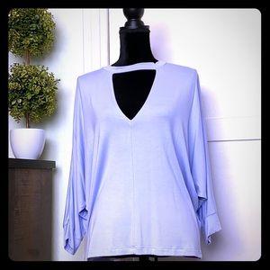 NWT Knit Top V-Neckline Dolman Sleeve Periwinkle L